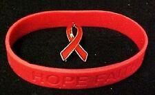 Red Ribbon Pin Silicone Bracelet Set Awareness Heart Lymphoma Pro Life AIDS DARE