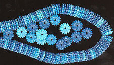 50 Vintage Plastic Flower Beads 3 SHADES TURQUOISE 7mm FINAL MARKDOWN #298