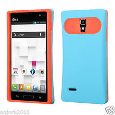 LG Optimus L9 T-Mobile P769 Hybrid Card Wallet Case Skin Cover Blue Orange