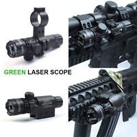 Outdoor Green Dot Laser Sight Scope w/ Rail Barrel Mount Cap Pressure Switch NEW