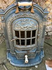 French Salamander ornate cast iron enamel wood burner