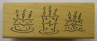Birthday Cakes Rubber Stamp - Wood Mounted