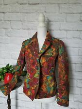 CHICO'S women size 1 lined brown gold multi-colored one button jacket blazer