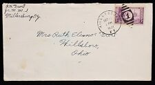 1934 US Mail Envelope Kentucky to Ohio w 3 Cent Stamp w Fancy Number 1 Cancel