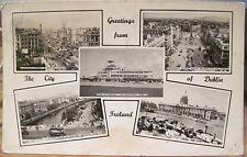 Irish Postcard GREETINGS FROM DUBLIN City Ireland Multiview Airport Liffey 1958