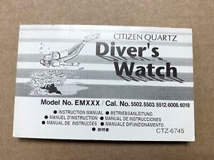 Citizen Diver 'S Cal. 5502 5503 5512 6008 6018 CTZ-6745 Manual Instruction