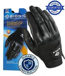 New 2021 Bionic StableGrip Men's BLACK Golf Glove w/ 2X DURABLE **2-3 Day Ship**