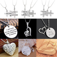 I LOVE YOU Valentine's Day Women's Girls' Gift Heart Pendant Necklace Romantic