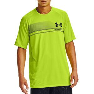 Under Armour UA HeatGear Mens Green Wordmark Logo Gym Sports Training T Shirt L