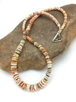 """Navajo Native American Graduated Spiny Oyster Sterling Silver Necklace 21"""" 4771"""