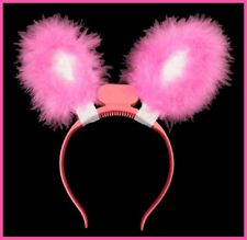 FLASHING Light up LED Pink Fluffy BUNNY EARS HEADBAND Easter Hens Party Costume