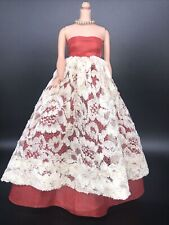 Beautiful Vintage Barbie sized Clone? Dress. Red with white/cream lace and snaps