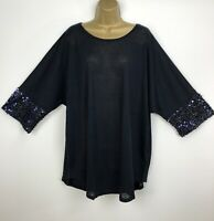 New Blue Vanilla Tunic Top Navy Blue Sequin Sleeves UK Plus Size 26 28