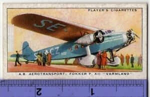 Fokker F XII Airplane A.B. Aerotransport Airlines 1930s Trade Ad Card