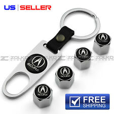 VALVE STEM CAPS + KEYCHAIN WHEEL TIRE CHROME FOR ACURA - US SELLER