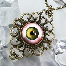 Spooky Eye Hazel Human Taxidermy Eyeball Antique Bronze Horror Pendant Necklace