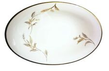 Noritake Oval Serving Bowl Golden Leaves Pattern 5693