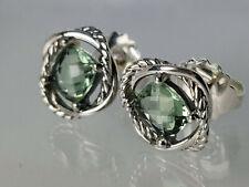 David yurman Sterling Silver 7mm Green Prasiolite Infinity Earrings