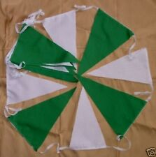 20ft GREEN / WHITE FABRIC BUNTING FLAGS FOOTBALL WEDDINGS