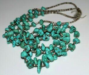 18  Vintage Natural Blue Turquoise Heishe choker