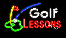 "NEW ""GOLF LESSONS"" 30x17 OVAL SOLID/FLASH REAL NEON SIGN w/CUSTOM OPTIONS 14526"