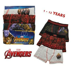 Boy MARVEL AVENGERS Superhero Boxers Shorts Pants Briefs Kids Underwear 3 PACK