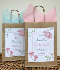 PERSONALISED WEDDING FAVOUR GIFT BAG   PARTY BAG   THANK YOU BAG   FLOWER BROWN