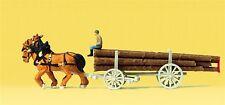 Preiser 79477 -- Langholzwagen mit Pferden, Spur N