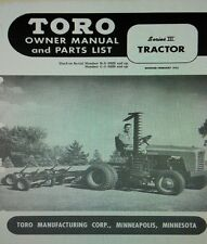 TORO Series III Riding Lawn Garden Tractor Owner & Parts Manual 20pg 1953 B &C-J