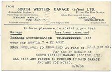 SOUTHAMPTON 1936 SOUTH WESTERN GARAGE to Ernest Clew Stoughton Surrey postcard