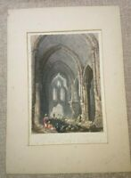 Original Antique Engraved Print -  Cathedral of Our Lady of Tortosa 1838