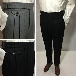 Winter Heavy Men's Woolen Gurkha Pants Suit Pants Loose Casual Trousers Straight