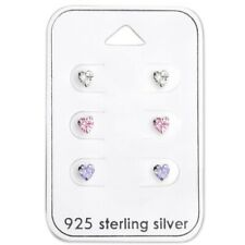 925 Sterling Silver Tiny Heart Studs Earrings Pink Clear Purple Set Kids Girls