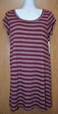 Womens Burgundy Striped Billabong Cap Sleeve Shirt Dress Size Small NWT NEW