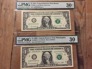 2009-2013 $1 DOLLAR FANCY SERIAL NUMBER PMG 30 VERY FINE 2 NOTES