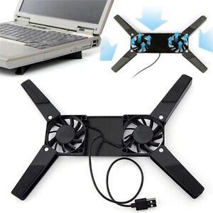 Foldable Laptop Desk Dual Cooling Fan Notebook Stand Rac Holder Cooler Black New