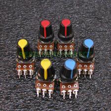 6x 50K OHM Linear Taper Dual Gang Rotary Potentiometers B50K Black Knob 6pcs U39