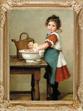 GIRL and DOLL'S BATH Dollhouse Miniature Framed Art Picture - MADE IN AMERICA