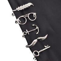 Silver Tie Clip Necktie Vintage Men's Tie Clip Bar Clasp Feather Archor Mustache