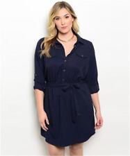 NEW..Stylish Plus Size Navy Blue Shirt Style Dress..SZ16/1XL