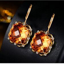 14k Yellow Gold Cushion Citrine & Diamond Dangle Earrings