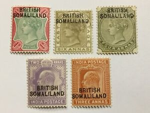 old stamps   BRITISH SOMALILAND   x  5 mint optd India stamps
