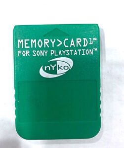 NYKO PS1 MEMORY CARD 80010-H08-8911 Green, Playstation 1 Tested WORKING
