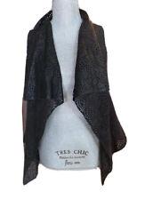 New Miss Me Black Laser-cut Wrap vest Open front Drape Faux-suede