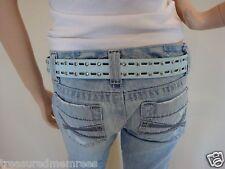 "Genuine Leather Belt ~ Blue ~ Medium  (Waist Size 34-36"")"
