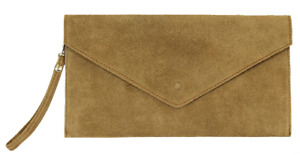 Ladies Italian Real Suede Taupe Envelope Clutch Bag with Shoulder Strap PS103