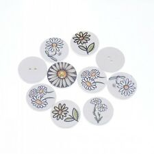 "Lot of 10 Assorted FLOWERS Wooden Button 3/4"" (20mm) Scrapbook Crafts (3179)"
