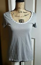 marc jacobs t shirt gray gingham print trim small s cute spring