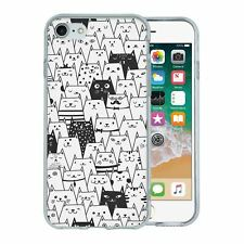 For Apple iPhone 8 Silicone Case Funny Cat Collage Pattern - S230