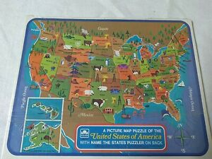 1968 Golden United States of America Picture Map Puzzle Name States New